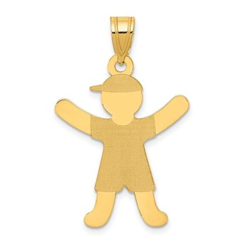 14k Laser Polished Boy with Hat Charm