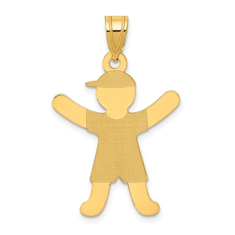 Quality Gold 14k Laser Polished Boy with Hat Charm