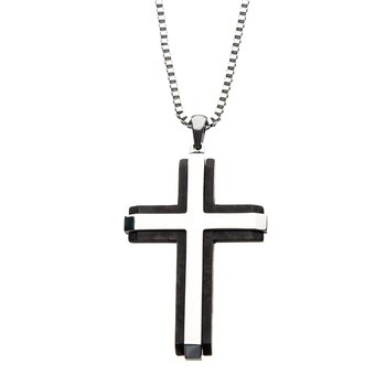 Double-Layer Two Tone Cross Pendant with Chain