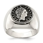 Quality Gold Sterling Silver Polished with Antiqued Replica 50 Lire Italian Coin Ring