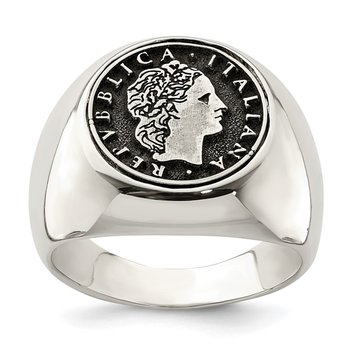 Sterling Silver Polished with Antiqued Replica 50 Lire Italian Coin Ring