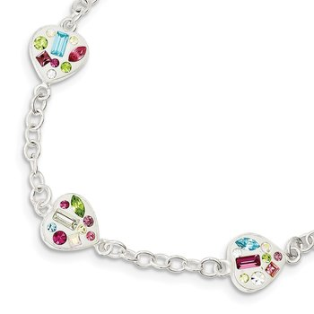 Sterling Silver Stellux Multi Color Crystal Heart Bracelet