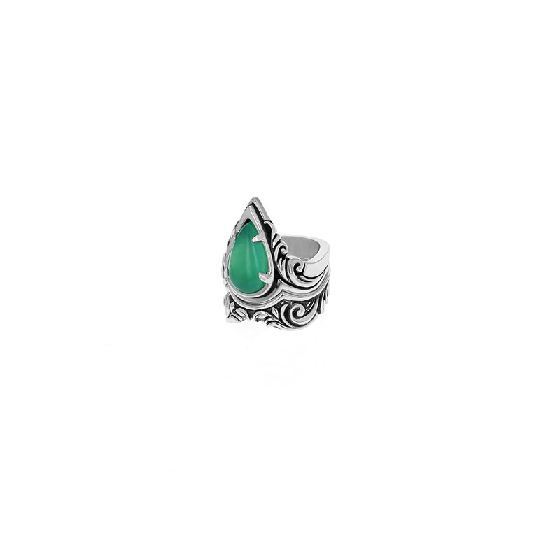 King Baby Stackable Drop Scroll Chrysoprase Ring