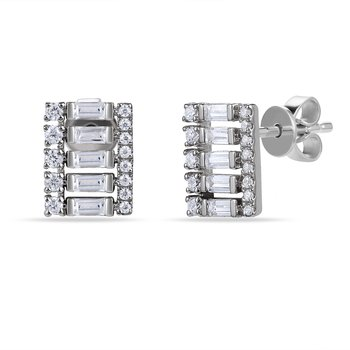 14K rectangular shape Earrings with round & bag Diamonds 0.48C