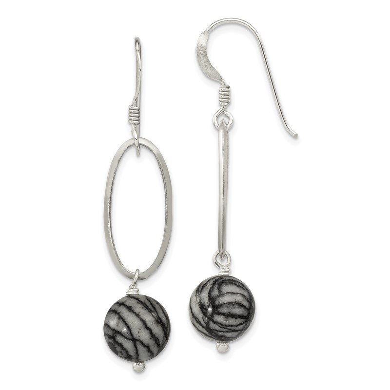 J.F. Kruse Signature Collection Sterling Silver Oval Links & 9.5mm Zebra Jasper Dangle Earrings