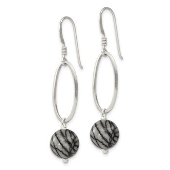 Sterling Silver Oval Links & 9.5mm Zebra Jasper Dangle Earrings