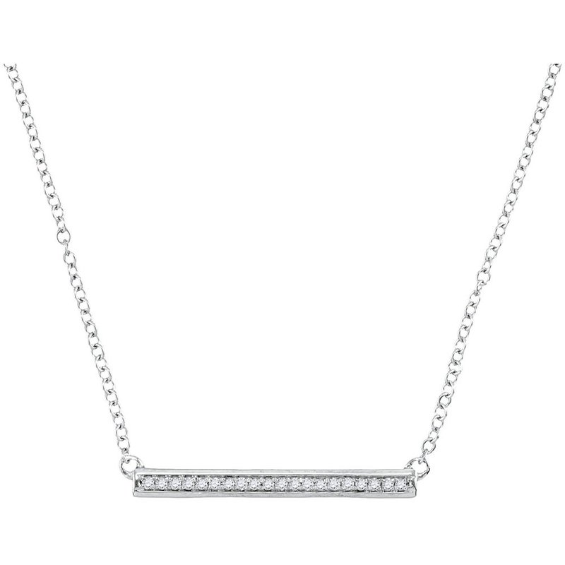 Kingdom Treasures 10kt White Gold Womens Round Diamond Bar Pendant Chain Necklace 1/10 Cttw