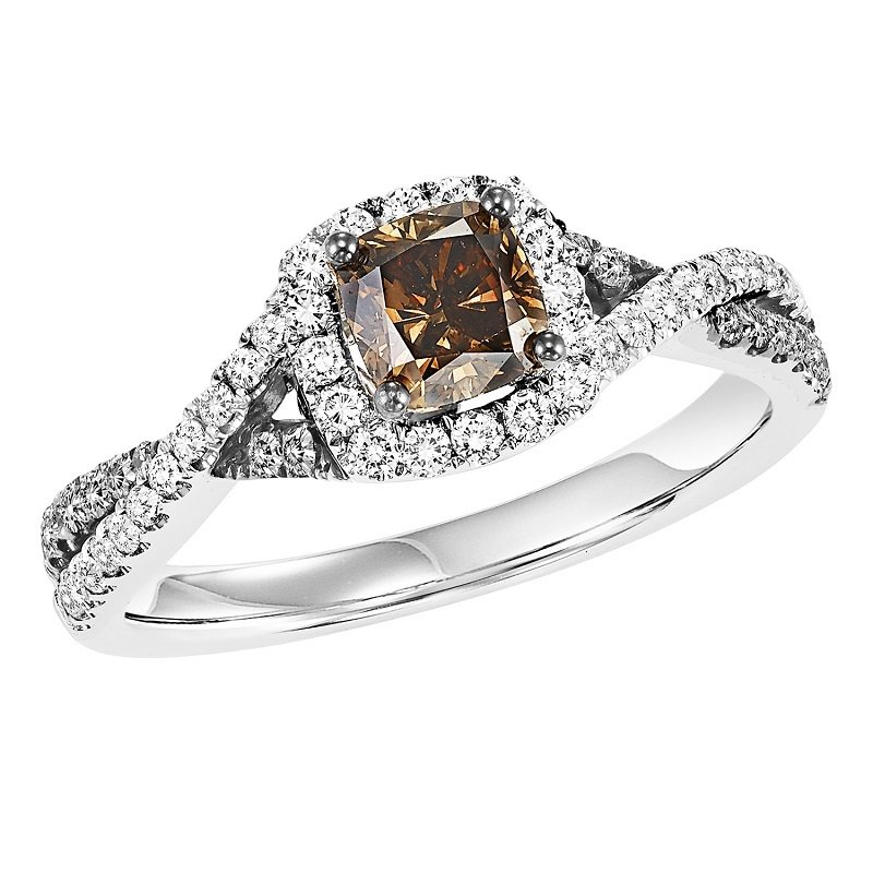 Bridal Bells 14K Diamond Engagement Ring 1 ctw including Brown Diamond Center