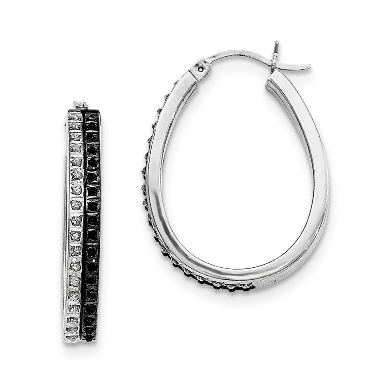 Quality Gold Sterling Silver Black & White Diamond Oval Hinged Hoop Earrings