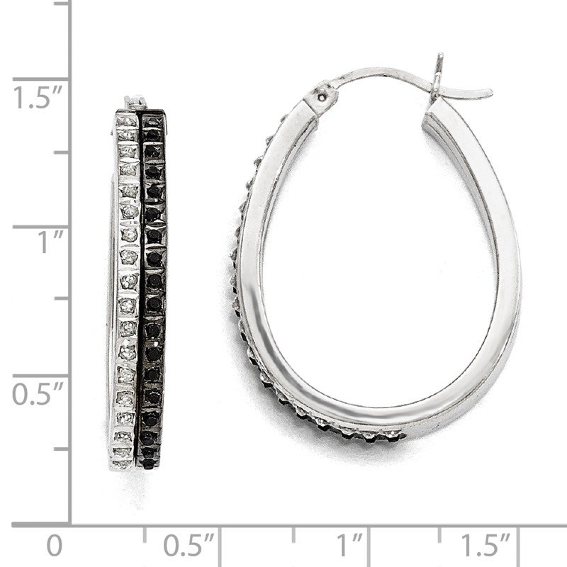 Quality Gold Sterling Silver Diamond Mystique Black/White Dia Hinged Hoop Earrings