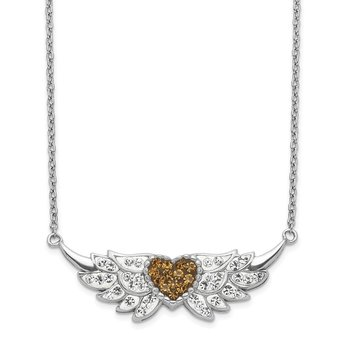 Sterling Silver Enameled Crystal Heart w/Wings Necklace