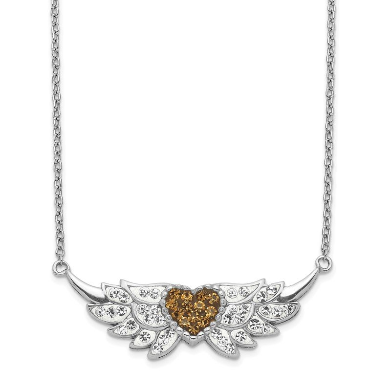Quality Gold Sterling Silver Enameled Crystal Heart w/Wings Necklace