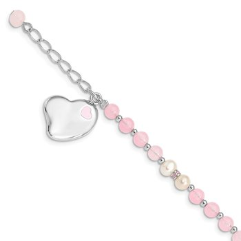 Sterling Silver Rhod-plated FWCP/Rose Quartz 6in Plus 1inext Heart Bracelet