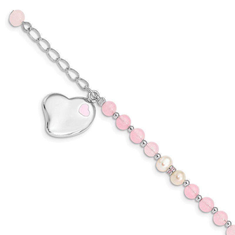 Fine Jewelry by JBD Sterling Silver Rhodium-plated FWCP & Rose Quartz Childs Heart Bracelet