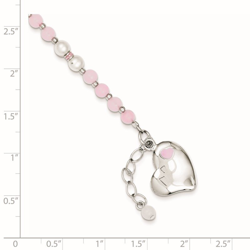Quality Gold Sterling Silver Rhod-plated FWCP/Rose Quartz 6in Plus 1inext Heart Bracelet