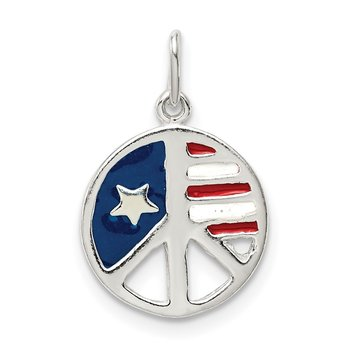Sterling Silver Polished Enamel American Flag Peace Sign Pendant