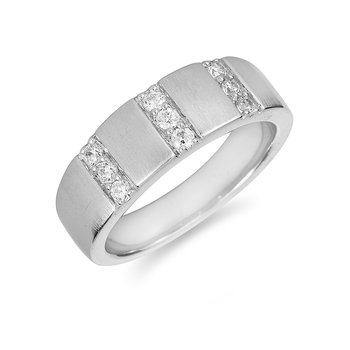 14K WG Men's Diamond Ring Band 3 Parallel Dia Rows
