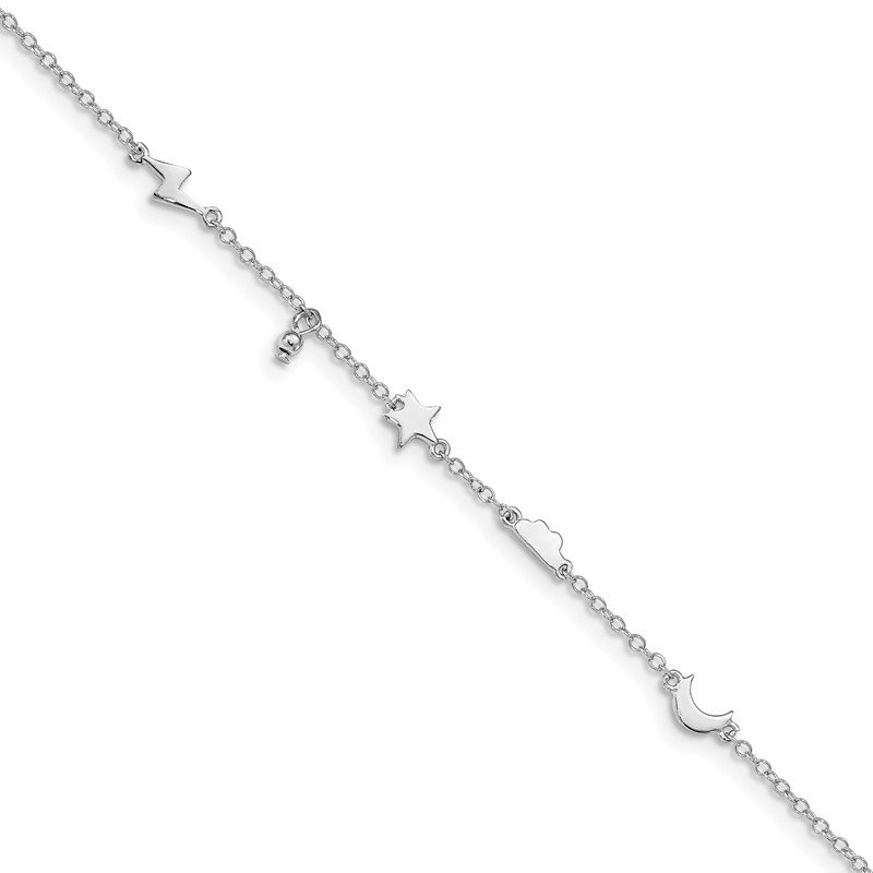 Quality Gold Sterling Silver Rhodium-plated Sky Shapes Anklet