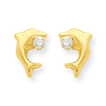 14k Madi K Dolphin w/CZ Post Earrings