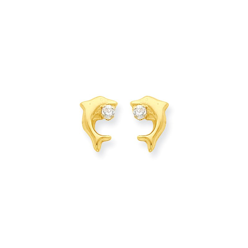 Quality Gold 14k Madi K Dolphin w/CZ Post Earrings
