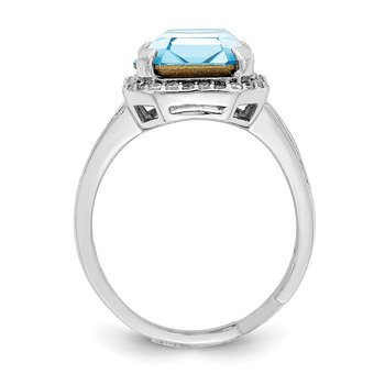Sterling Silver RH-plated Clear/Blue Crystal Rectangle Adjustable Ring