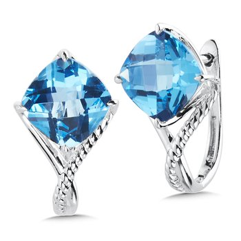 Sterling Silver Blue Topaz Huggie Earrings