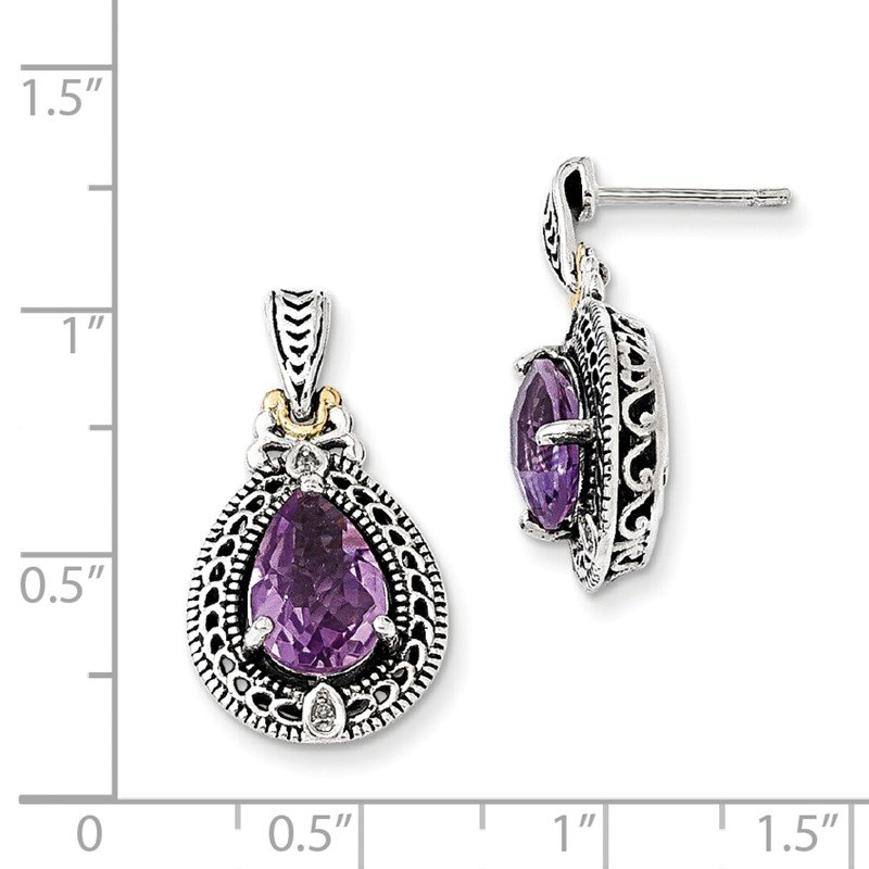 Shey Couture Sterling Silver w/14k Diamond & Amethyst Earrings