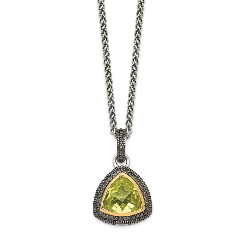 Quality Gold Sterling Silver w/ 14K Accent Lemon Quartz Necklace