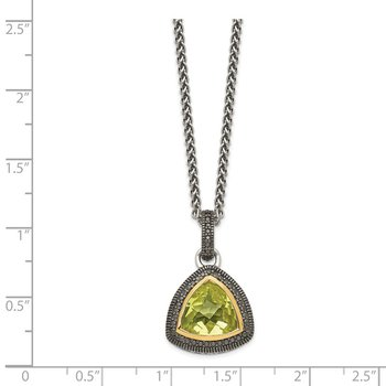 Sterling Silver w/ 14K Accent Lemon Quartz Necklace