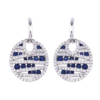 14k White Gold Sapphire and Diamond Disc Earrings