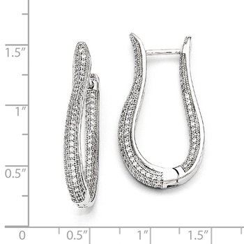 SS Rhodium-Plated CZ Brilliant Embers Polished Hoop Earrings