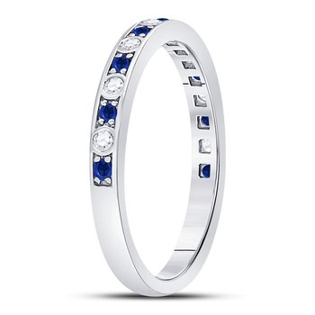 10kt White Gold Womens Round Blue Sapphire Diamond Alternating Stackable Band Ring 1/4 Cttw