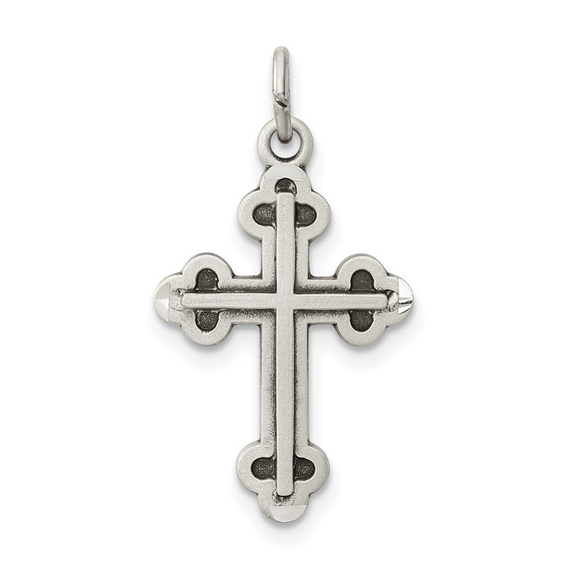 J.F. Kruse Signature Collection Sterling Silver Antiqued Budded Cross Charm
