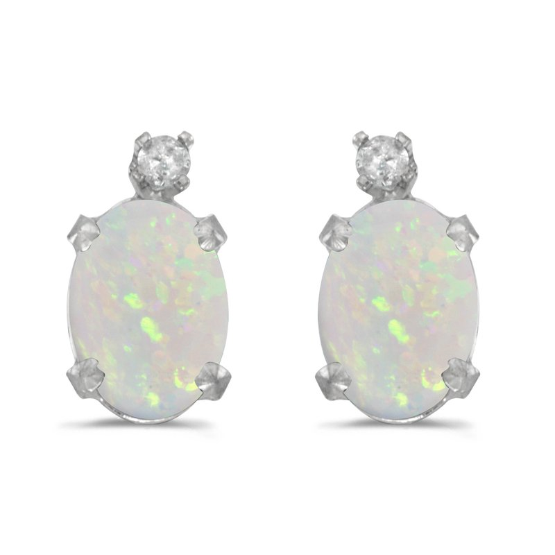 Color Merchants 14k White Gold Oval Opal And Diamond Earrings