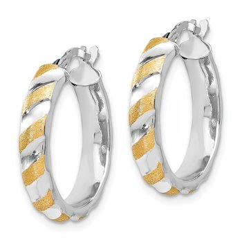 Leslie's 14K White Gold with Yellow Polished Textured Hoop Earrings
