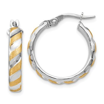 Leslie's 14k White Gold with Yellow Polished Textured Hoops