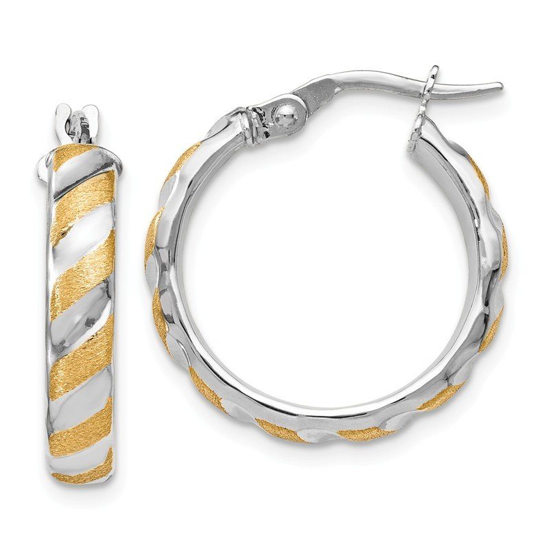 Leslie's Leslie's 14K White Gold with Yellow Polished Textured Hoop Earrings
