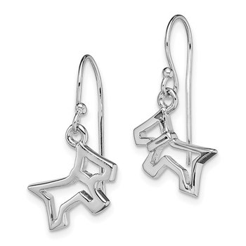 Sterling Silver Rhodium-plated Dog Dangle Earrings