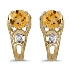 Color Merchants 10k Yellow Gold Round Citrine And Diamond Earrings