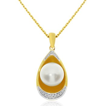14k Yellow Gold Pearl And Single Cut Diamond Pear Pendant