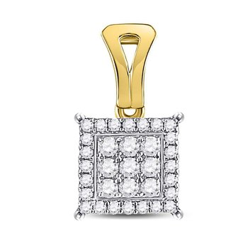 14kt Yellow Gold Womens Round Diamond Square Cluster Pendant 1/4 Cttw