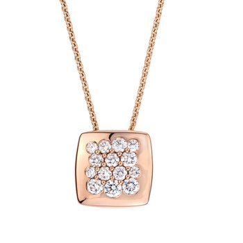 Rose Gold Diamond 11mm Square Tango Pendant