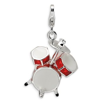 Sterling Silver Amore La Vita Rhodium-pl 3-D Enameled Drum Set Charm