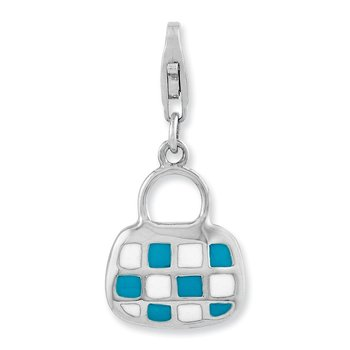Sterling Silver Rhodium-plated 3-D Enameled Purse w/Lobster Clasp Charm