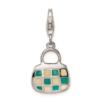 Sterling Silver Amore La Vita Rhodium-plated 3-D Enameled Purse Charm