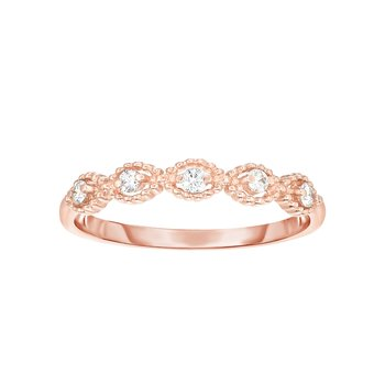 14K Gold .10ct Diamond Oval Shape Stackable Ring