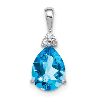 Sterling Silver Rhodium Diamond & Lght Sw. Blue Topaz Teardrop Pendant