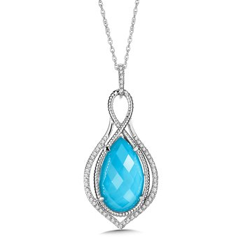 Turquoise Fusion & Diamond Pendant in 14K White Gold