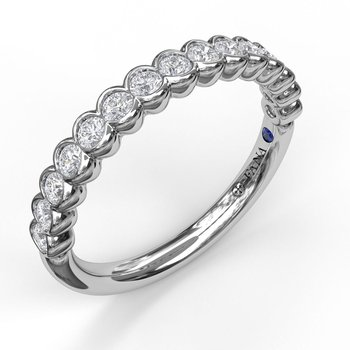 Scalloped Partial Bezel Diamond Band