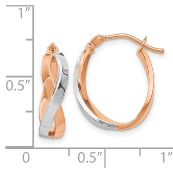 Leslie's 14K Rose Gold Two-tone Polished Hinged Hoop Earrings